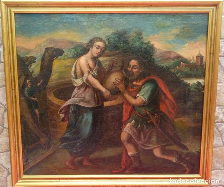 ÓLEO S/LIENZO -REBECA-. ESCUELA ITALIANA S. XVIII. DIM.- 96X87 CMS. (Arte - Pintura - Pintura al Óleo Antigua siglo XVIII)