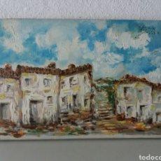 Arte: CUADRO AL OLEO FIRMADO....PINTURA A MANO SOBRE TELA...TEMA CASAS. Lote 100962676