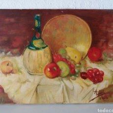 Arte: PINTURA A MANO AL OLEO SOBRE TELA ...CUADRO FIRMADO TEMA BODEGON FRUTAS. Lote 101027208