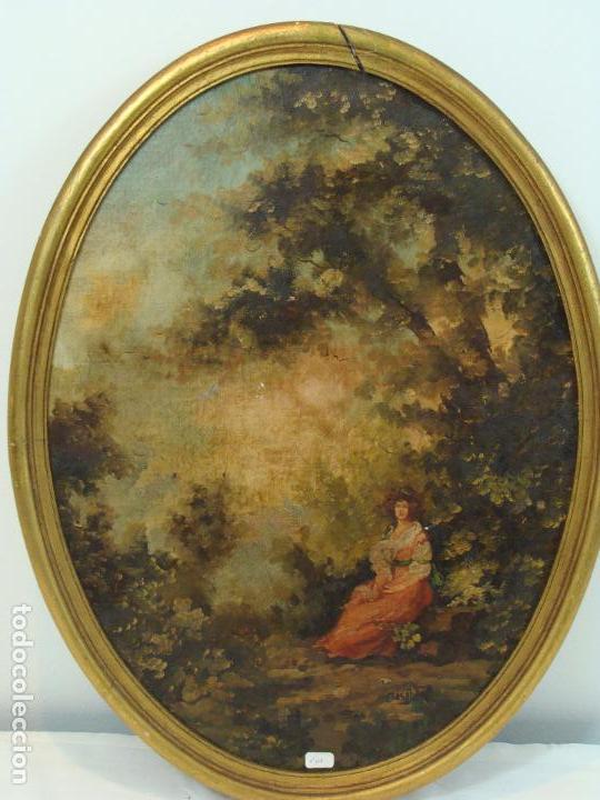 OLEO SOBRE LIENZO ESCENA ROMÁNTICA - FIRMADO - SIGLO XIX (Arte - Pintura - Pintura al Óleo Moderna siglo XIX)