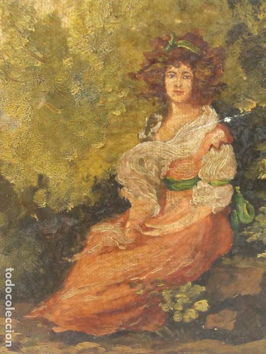 Arte: Oleo sobre lienzo Escena Romántica - Firmado - Siglo XIX - Foto 2 - 101090203