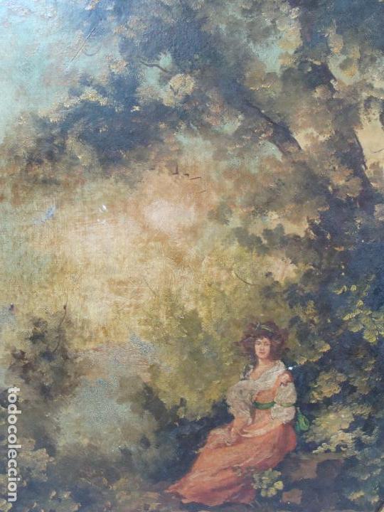 Arte: Oleo sobre lienzo Escena Romántica - Firmado - Siglo XIX - Foto 4 - 101090203