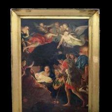 Arte: ANTIGUO ÓLEO SOBRE LIENZO DE LA ADORACIÓN DE LOS PASTORES, NACIMIENTO. SIGLO XVII. ESCUELA CATALANA.. Lote 101079531