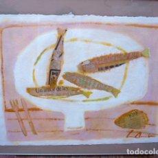 Arte: ÓLEO Y TÉCNICA MIXTA SOBRE CARTULINA DE LUIS AMER.BODEGÓN.. Lote 101107651