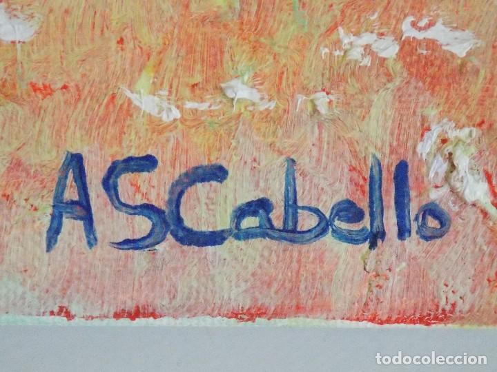 Arte: Oleo sobre tapiz lienzo pintor Antonio Sanchez Cabello paisaje arbol - Foto 3 - 101128111