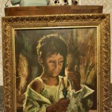 Arte: INTERESANTE OLEO SOBRE LIENZO, NIÑO CON UNA VELA, ENMARCADO. Lote 101233495