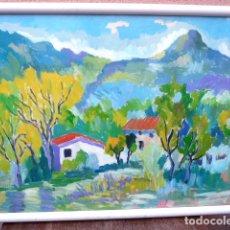 Arte: ÓLEO SOBRE CARTULINA.ESCUELA MALLORQUINA.ANÓNIMO.MUCHO COLORIDO.. Lote 101242135