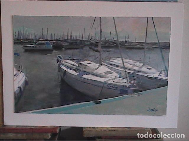 EXCELENTE OLEO SOBRE TABLEX. DOMINGO ALVAREZ. PUERTO DEPORTIVO. (Arte - Pintura - Pintura al Óleo Contemporánea )