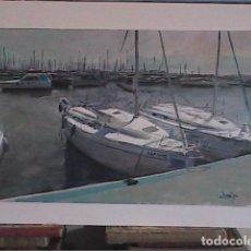 Arte: EXCELENTE OLEO SOBRE TABLEX. DOMINGO ALVAREZ. PUERTO DEPORTIVO.. Lote 101276683