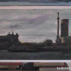 Arte: EXCELENTE OLEO SOBRE TABLEX. PUERTO DE BARCELONA. DOMINGO ALVAREZ.. Lote 101277299