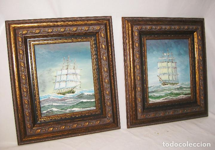 Pareja de cuadros oleos vintage marinos barcos comprar - Pintura dorada para madera ...