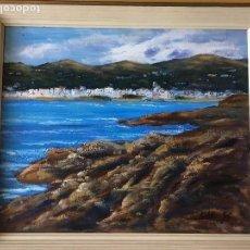 Arte: JOAN SOLER GIL ,COSTA BRAVA- PORT DE LA SELVA-46X38 CM.ENMARCADO EN MADERA. Lote 101351627