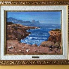 Arte: JOAN SOLER GIL ,COSTA BRAVA- 5-FIGURA 35X27 CM.ENMARCADO EN MADERA. Lote 101353283