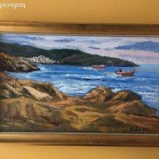 Arte: JOAN SOLER GIL ,COSTA BRAVA- LA PUNTA DE LLANÇA-46X27 CM.ENMARCADO EN MADERA. Lote 101353415