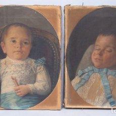 Arte - MUY RARA PAREJA DE RETRATOS DE NIÑOS POST-MORTEM. OLEO S/ LIENZO. ESPAÑA. SIGLO XIX - 101374387