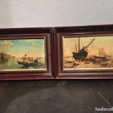 Arte: PAREJA ÓLEOS SOBRE TABLA, ESCUELA ESPAÑOLA, SIGLO XIX: PASEO GONDOLA VENECIANA Y BARCOS EN LA PLAYA. Lote 101432355