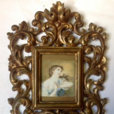 Arte: ANTIGUA PINTURA SOBRE MARFIL DE FINALES DEL SIGLO XVIII ,MARCO BARROCO. Lote 93271560