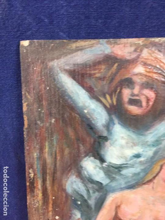 Arte: oleo tabla pesadilla sueño furia mujer recostada mitad s XX anonimo no firma araluce 26x19cms - Foto 2 - 101487471