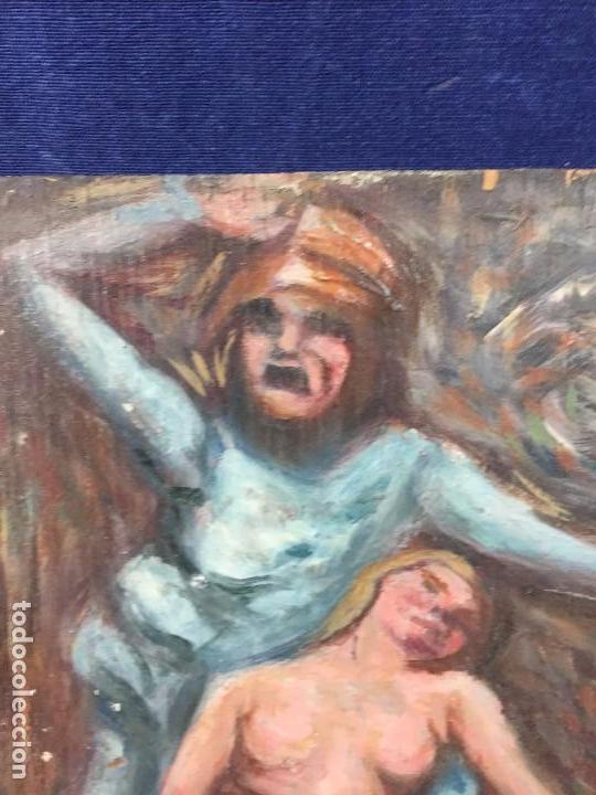 Arte: oleo tabla pesadilla sueño furia mujer recostada mitad s XX anonimo no firma araluce 26x19cms - Foto 3 - 101487471