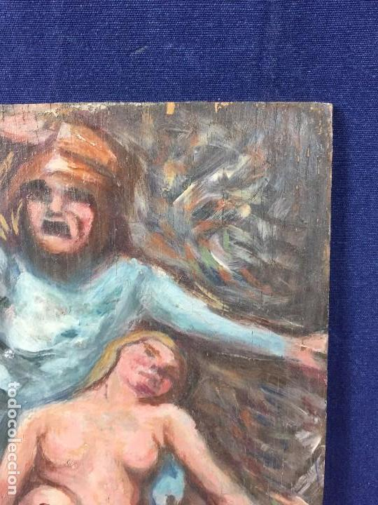 Arte: oleo tabla pesadilla sueño furia mujer recostada mitad s XX anonimo no firma araluce 26x19cms - Foto 4 - 101487471