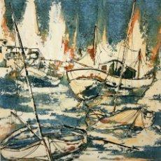 Arte: FIRMADO J. ROBERT. TECNICA MIXTA CON OLEO SOBRE TABLA. FECHADO DEL AÑO 1973. MARINA. Lote 101538071