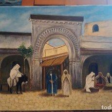 Arte: ARCO DEL ZOCO. ÁRABE ORIENTALISTA. LIENZO 55X33. MOLDURA DE REGALO.. Lote 101655460