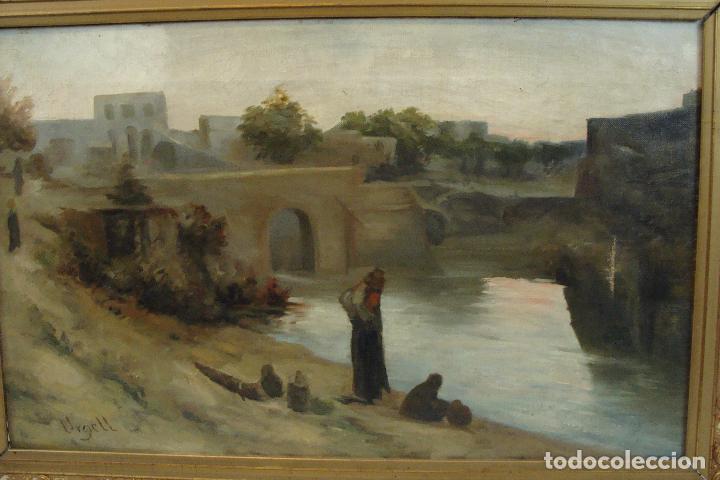 Arte: Óleo sobre lienzo Paisaje con Personajes - Firmado - Siglo XIX - Foto 2 - 101681479