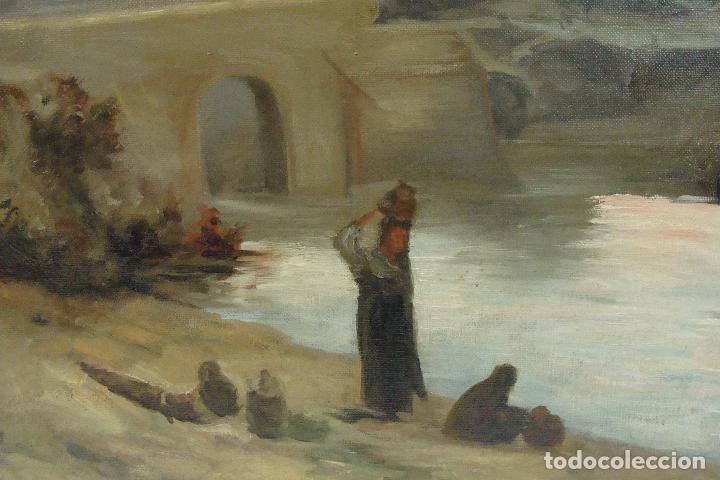 Arte: Óleo sobre lienzo Paisaje con Personajes - Firmado - Siglo XIX - Foto 4 - 101681479