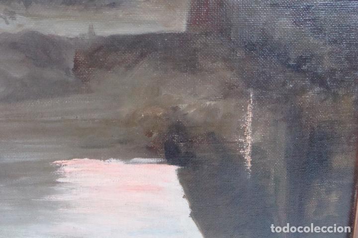 Arte: Óleo sobre lienzo Paisaje con Personajes - Firmado - Siglo XIX - Foto 5 - 101681479