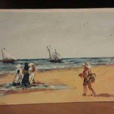 Arte: ESTUPENDA MARINA. ÓLEO SOBRE TABLA ENTELADA. 18,1X42,5. MARCO NUEVO DE REGALO EN PLATA.. Lote 101696019