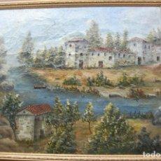 Arte: PAISAJE DEL SIGLO XIX. FIRMADO: GONZALO GILTEGA. LIENZO SOBRE TABLA.. Lote 101784183