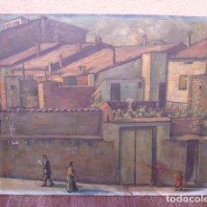 Arte: ÓLEO SOBRE TÁBLEX.JOAN BARÓ.ALGÚN LUGAR DE TERRASSA.AÑOS 40-60.PONE CARRETERA MONTADA DETRÁS.TOPETE?. Lote 101786747