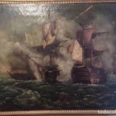 Arte: BATALLAS NAVALES, SIGLO XVIII, PAREJA DE ÓLEOS SOBRE LIENZOS. Lote 103444148