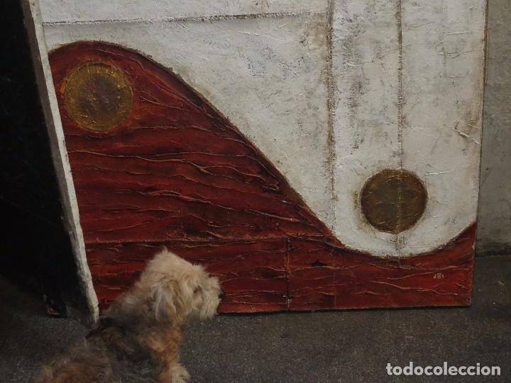 MURAL PINTURA ANTIGUA FIRMA ILEGIBLE ASTRACTO OLEO EN LIENZO GRUESO 120 X 96 (Arte - Pintura - Pintura al Óleo Moderna siglo XIX)
