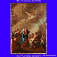 """Arte: ÓLEO """"LA RESURRECCIÓN DE LÁZARO"""". PINTURA ORIGINAL DE GRAN BELLEZA. ESCUELA ESPAÑOLA, 1777. Lote 101979227"""