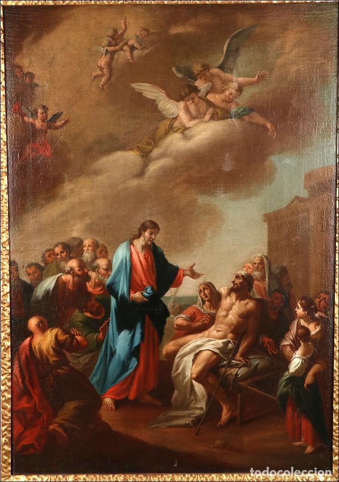 """Arte: Óleo """"La Resurrección de Lázaro"""". Pintura Original de Gran Belleza. Escuela Española, 1777 - Foto 2 - 101979227"""
