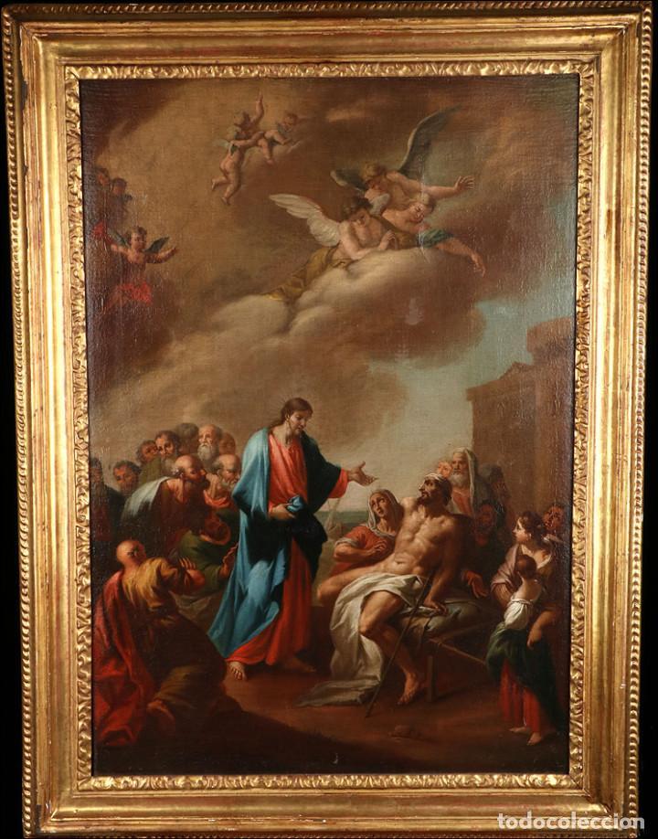 """Arte: Óleo """"La Resurrección de Lázaro"""". Pintura Original de Gran Belleza. Escuela Española, 1777 - Foto 3 - 101979227"""