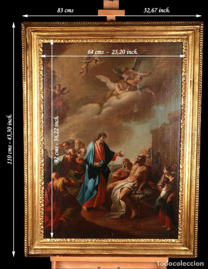 """Arte: Óleo """"La Resurrección de Lázaro"""". Pintura Original de Gran Belleza. Escuela Española, 1777 - Foto 4 - 101979227"""
