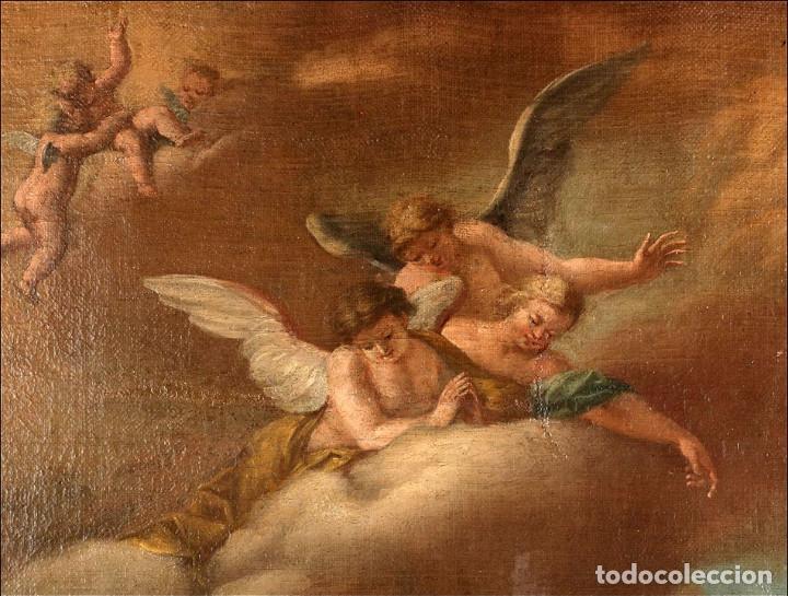 """Arte: Óleo """"La Resurrección de Lázaro"""". Pintura Original de Gran Belleza. Escuela Española, 1777 - Foto 5 - 101979227"""