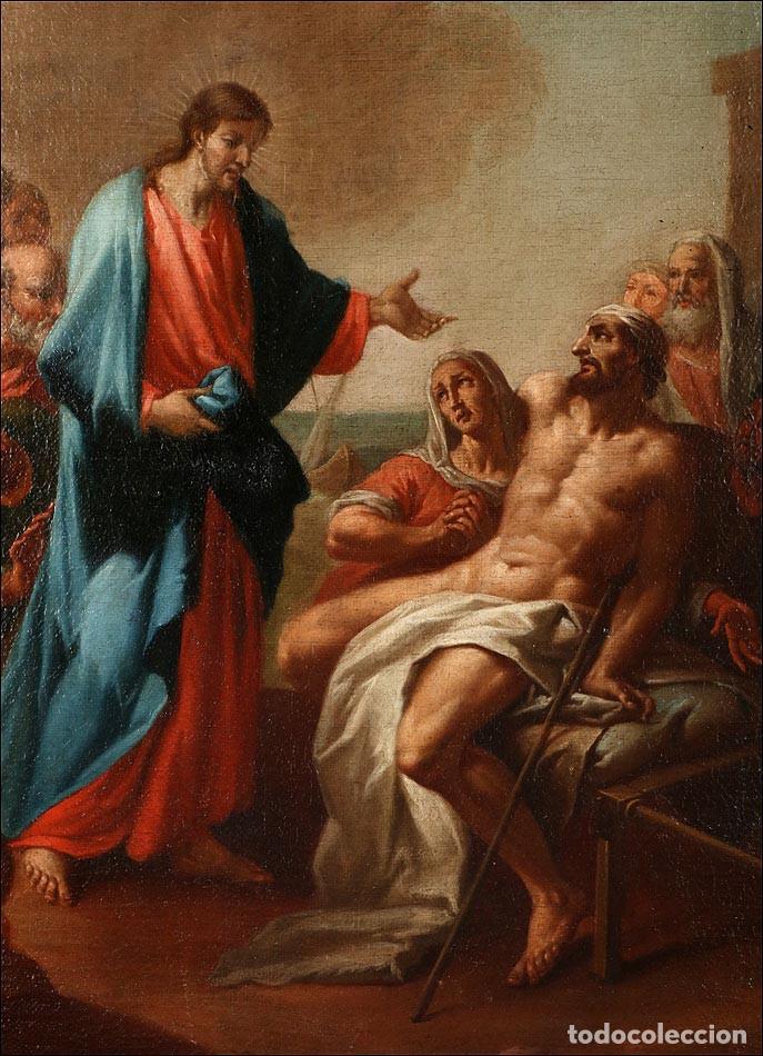 """Arte: Óleo """"La Resurrección de Lázaro"""". Pintura Original de Gran Belleza. Escuela Española, 1777 - Foto 8 - 101979227"""