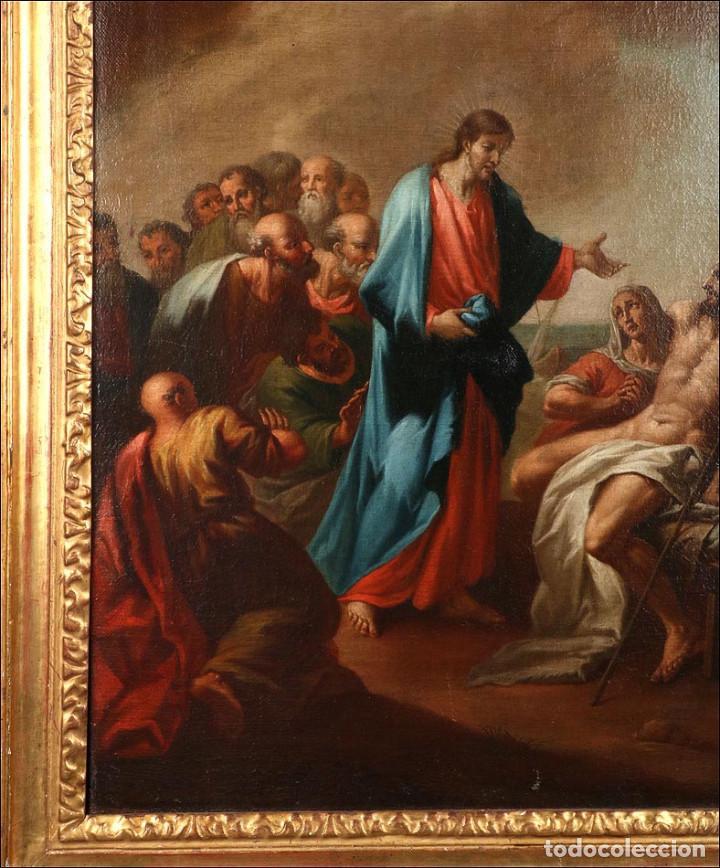 """Arte: Óleo """"La Resurrección de Lázaro"""". Pintura Original de Gran Belleza. Escuela Española, 1777 - Foto 9 - 101979227"""