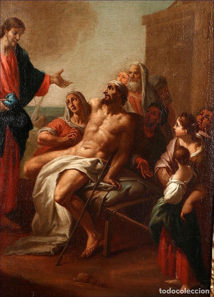 """Arte: Óleo """"La Resurrección de Lázaro"""". Pintura Original de Gran Belleza. Escuela Española, 1777 - Foto 10 - 101979227"""