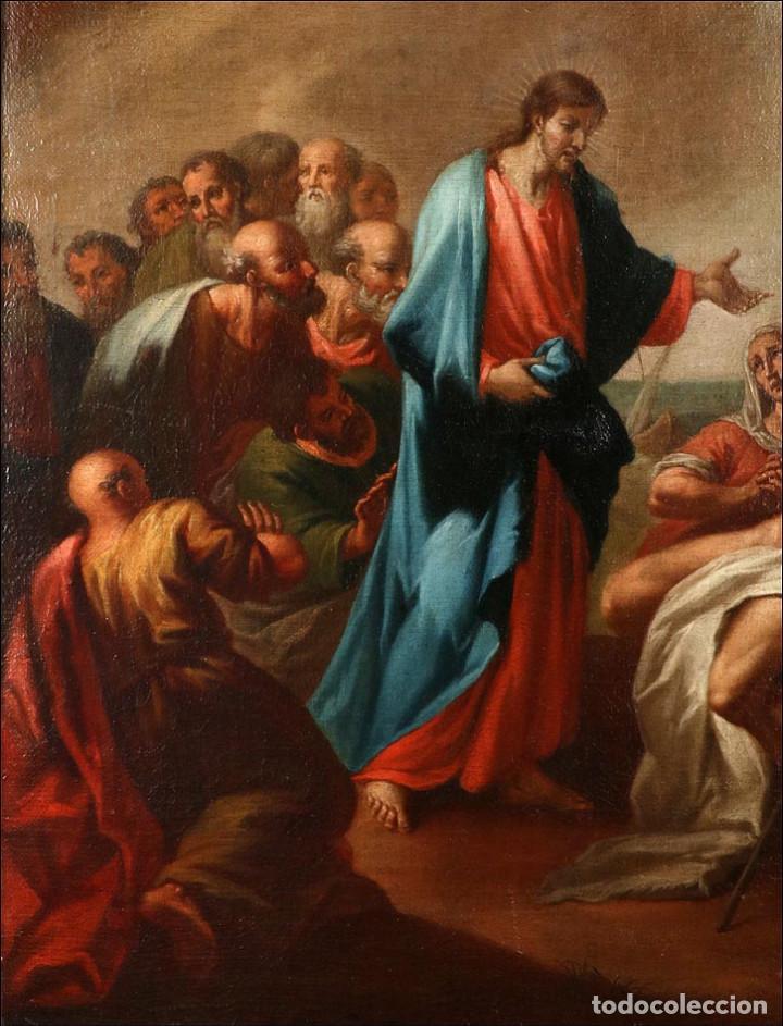 """Arte: Óleo """"La Resurrección de Lázaro"""". Pintura Original de Gran Belleza. Escuela Española, 1777 - Foto 11 - 101979227"""