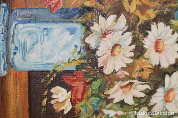 Arte: Óleo sobre lienzo sin marco, bodegón de flores - Foto 2 - 102087355