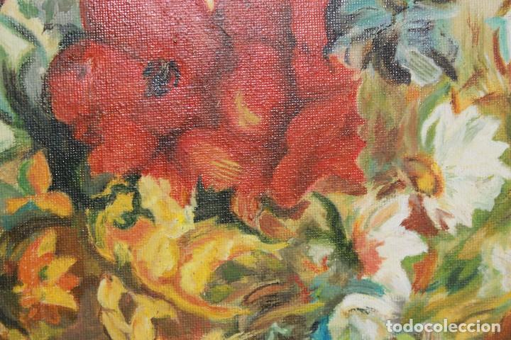 Arte: Óleo sobre lienzo sin marco, bodegón de flores - Foto 3 - 102087355