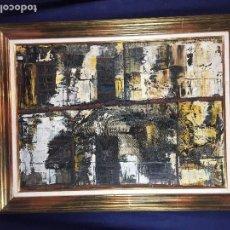Arte: PINTURA OLEO LIENZO GOMEZ PABLOS CASAS FACHADAS TONOS OSCUROS MARRONES AMARILLOS S XX AÑOS 70. Lote 102334123