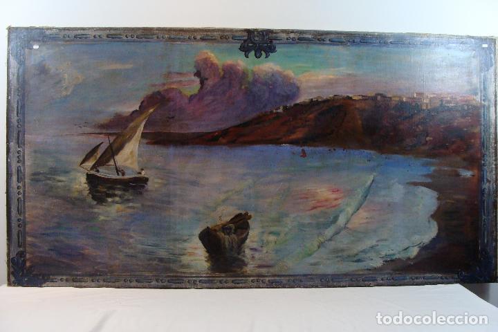 ÓLEO SOBRE LIENZO PAISAJE MARINERO - SIGLO XX (Arte - Pintura - Pintura al Óleo Moderna sin fecha definida)
