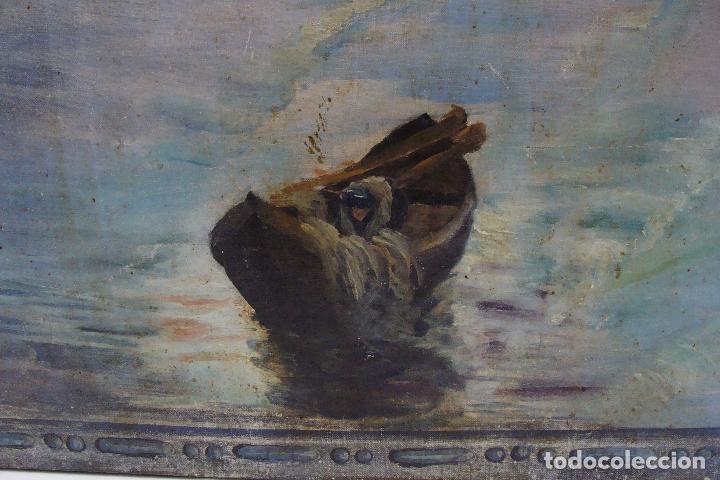 Arte: Óleo sobre lienzo Paisaje Marinero - Siglo XX - Foto 5 - 102348043