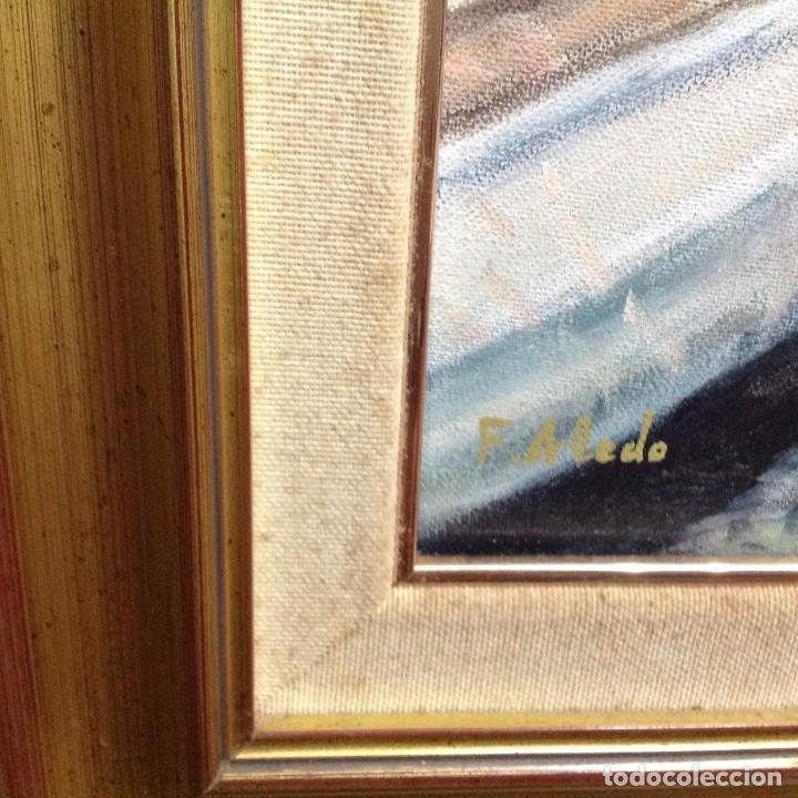 Arte: MARINA AL OLEO . PUERTO. ESCUELA VALENCIANA. Es un BOLUDA? - Foto 3 - 102379195