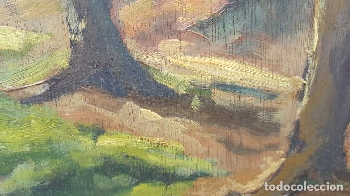 Arte: Oleo sobre tabla.ramon trulls pons.1950.sello sala gaspar.buen momento del pintor. - Foto 3 - 102379431